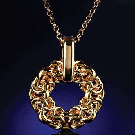 Gold Cerchio Bizantina Pendant & Chain (14K Gold)