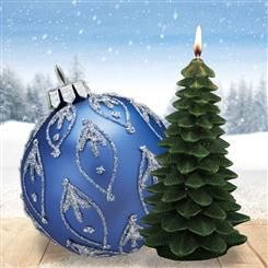 Spruce Candle & Set of 4 Blue Glass Ornaments