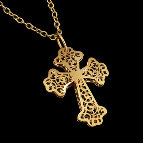 14K Byzantine Filigree Cross Pendant and Chain