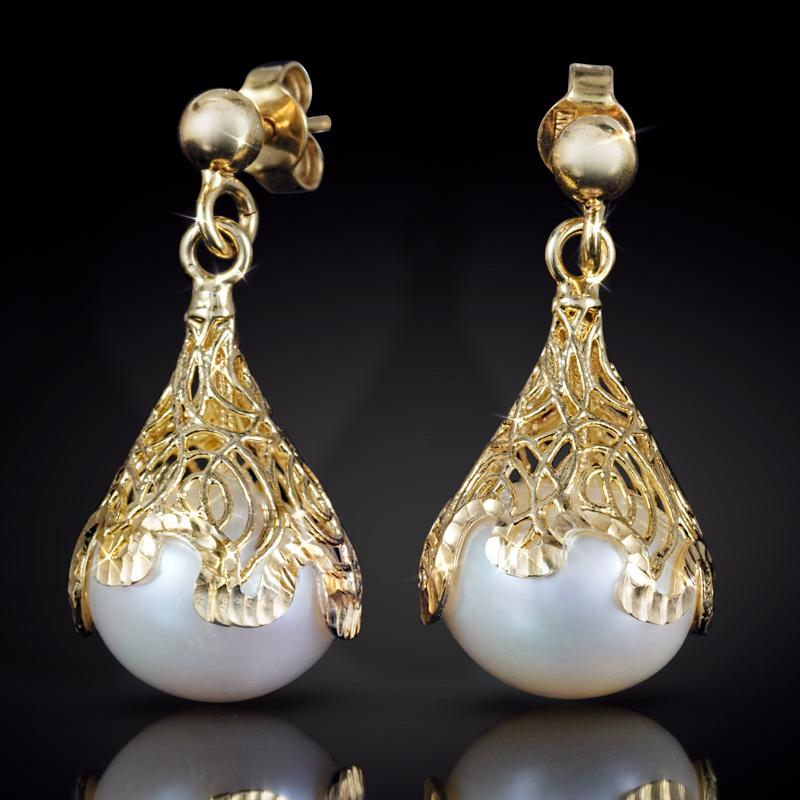 14K Italian Gold Filigree Pearl Earrings