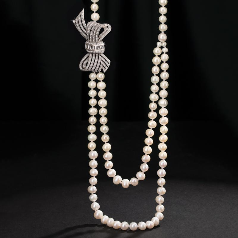 Estate Pearl and Silver Bow Necklace