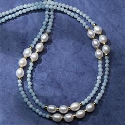 Aquamarine & Pearl Treasure Necklace