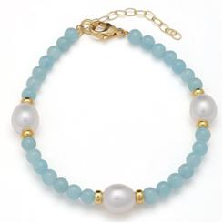 Aquamarine & Pearl Single Strand Bracelet (17 ctw)
