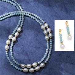 Aquamarine & Pearl Treasure Collection (Necklace and Earrings)