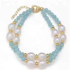 Aquamarine & Pearl Treasure Double Strand Bracelet
