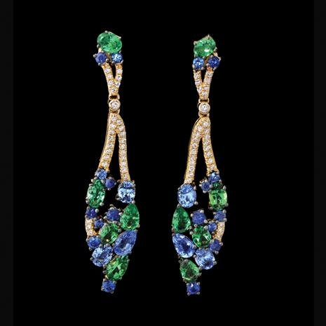 14K Gold Sapphire & Tsavorite Earrings
