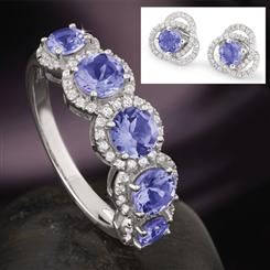 Tanzanite Five Stone Anniversary Set