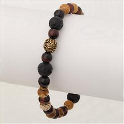 Mens Bohemian Stackable Bracelet (Lava Stone/Jasper/Tiger Eye)