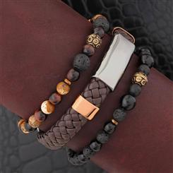 Mens Bohemian Stackable Bracelet Set (3)