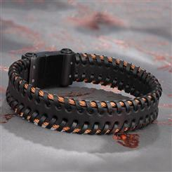 Mens Leather & Copper Wired Bracelet