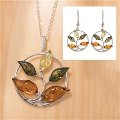 Amber Tree of Life Necklace & Earrings Set