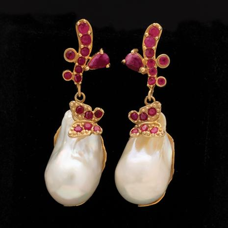 Ruby & Baroque Pearl Earrings
