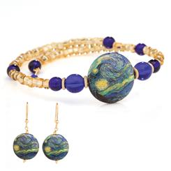Starry Night Murano Necklace and Earrings
