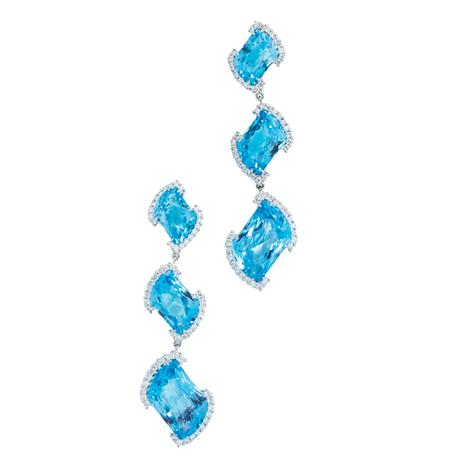 18K White Gold Swiss Blue Topaz and Diamond Earrings