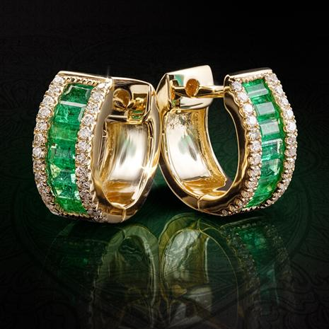 14K Yellow Gold Emerald & Diamond Huggie Hoop Earrings