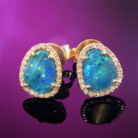 14K Gold Australian Black Opal Doublet & Diamond Earrings