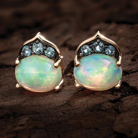 14K Yellow Gold Opal, Alexandrite & Diamond Earrings