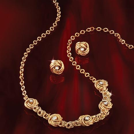 14K Italian Gold Nodo D'Amore Necklace & Earrings