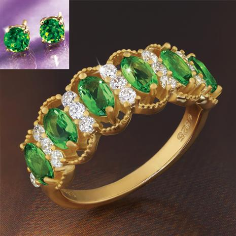 Evergreen Helenite Ring and Stud Earrings