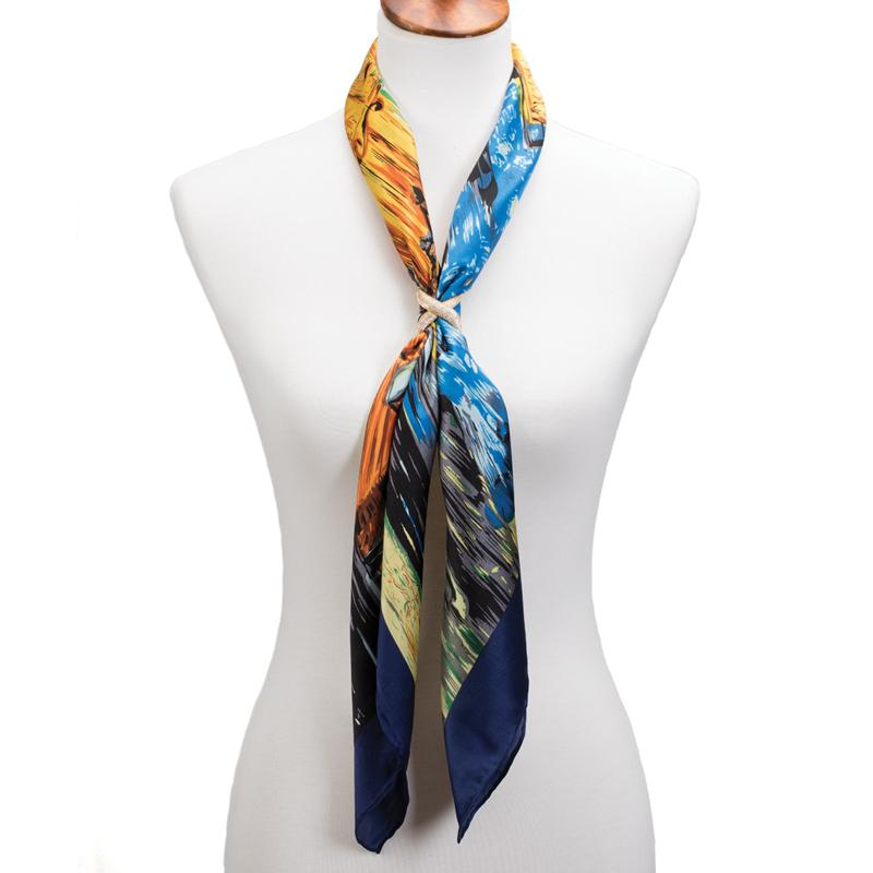 Cafe Terrace at Night Silk Scarf with Scarf Ring