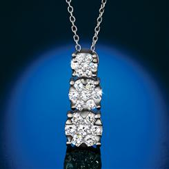 14K White Gold Lab-Created Diamond Drop Necklace (1 ctw)