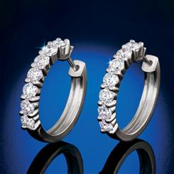 Sterling Silver Lab-Created Diamond Hoop Earring (1 ctw)
