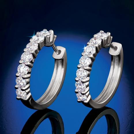 14K White Gold Lab-Created Diamond Hoop Earrings (1 ctw)