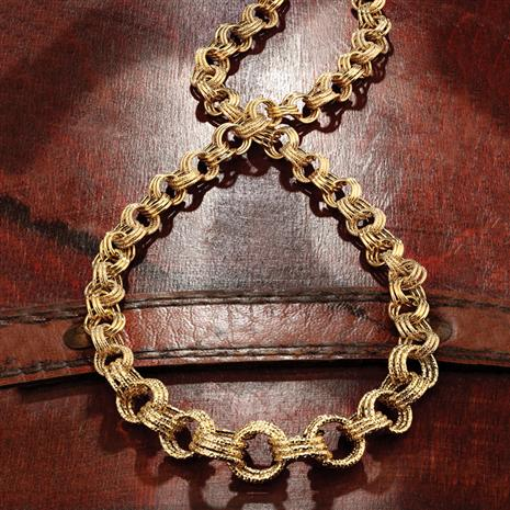 Italian 14K Gold Tripolo Link Necklace