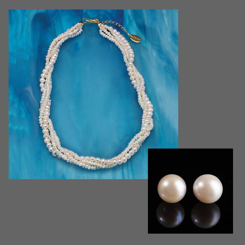 Splendor Pearl Necklace and Earrings