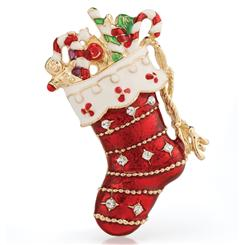 Signs of the Season Stocking Brooch