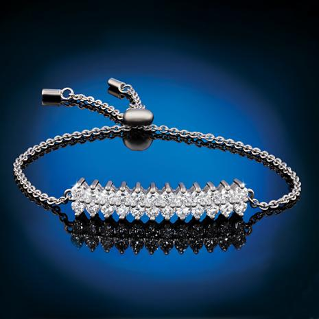 Sterling Silver Lab-Created Diamond Lariat Bracelet (1-2/3 ctw)
