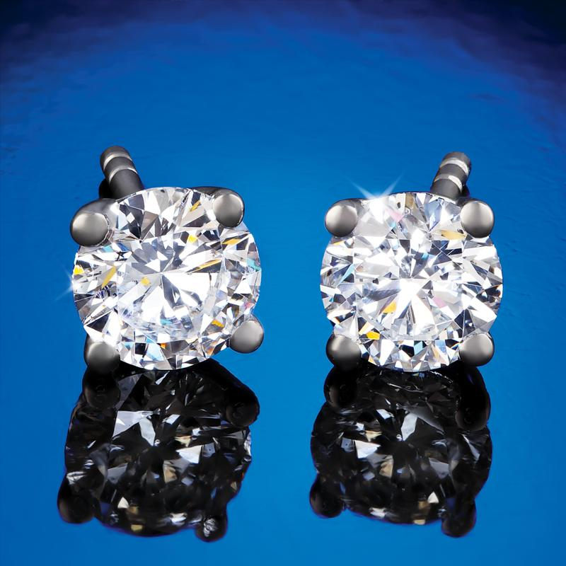 Sterling Silver Lab-Created Solitaire Diamond Stud Earrings (1/2 ctw)