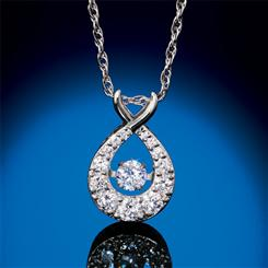 Sterling Silver Lab-Created Dancing Diamond Necklace (3/4 ctw)
