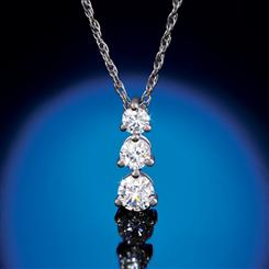 14K White Gold Lab Created Diamond Pendant