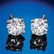 14K White Gold Lab-Created Solitaire Diamond Stud Earrings (1 ctw)