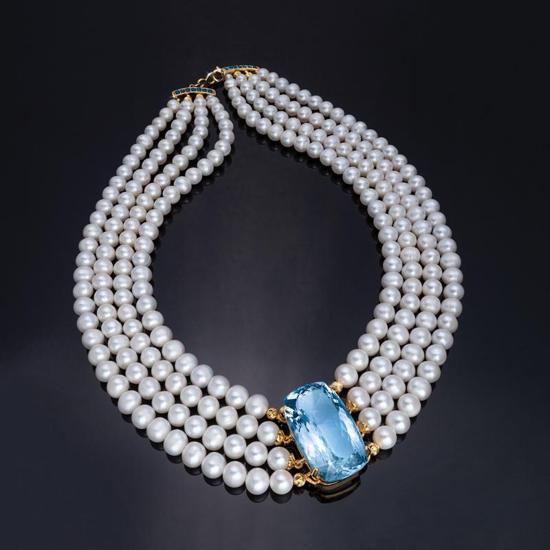 Cultured Freshwater Pearl & Sky Blue Topaz Necklace With Ruby Clasp