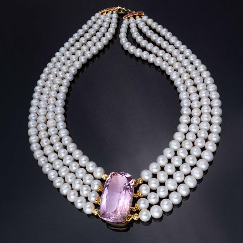 Cultured Freshwater Pearl & Pink Amethyst Necklace With Ruby Clasp