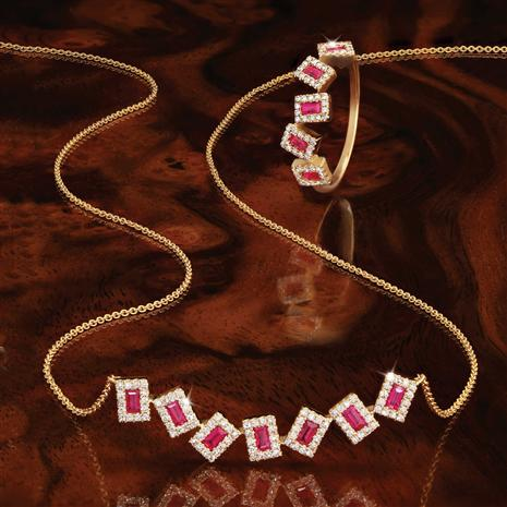 14K Gold Ruby & Diamond Necklace