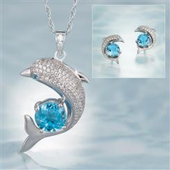 Dolphin Pendant, Chain and Earrings
