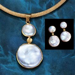 Mother-of-Pearl Lunar Pendant, Chain & Earring