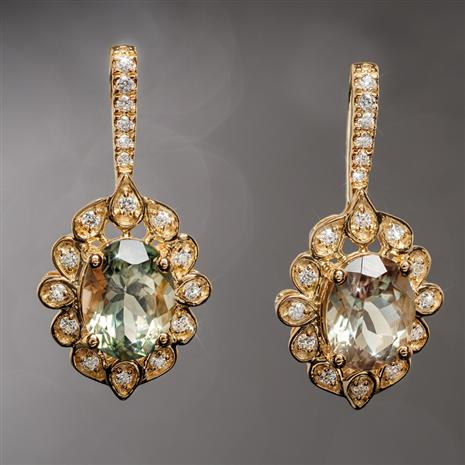 14K Gold Oregon Sunstone & Diamond Earrings