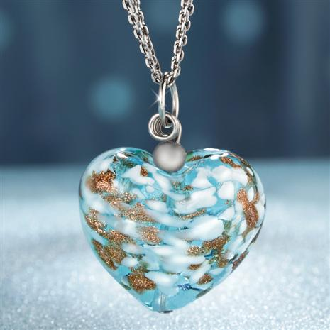 Cuore d'Italia Murano Heart Pendant with Chain