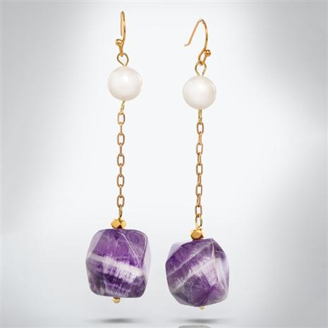 Amethyst & Pearl Round Up Earrings