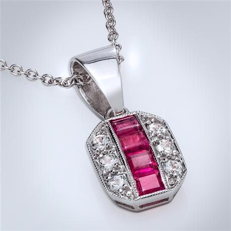 14K White Gold Red Emerald & White Sapphire Pendant