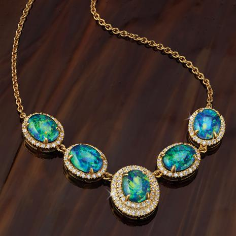 Rainbow's End Opal Triplet Necklace