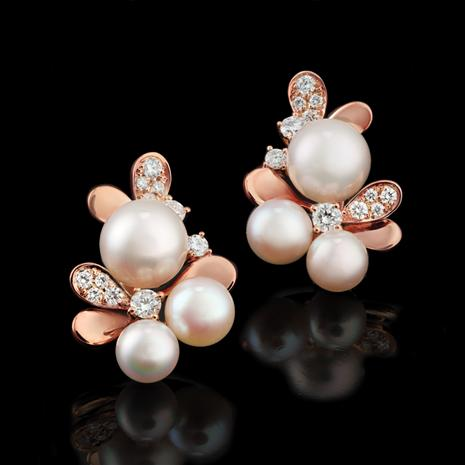 14K Rose Gold Akoya Pearl & Diamond Earrings