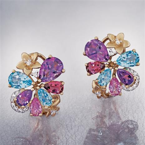 14K Yellow Gold Mixed Gem & Diamond Earrings