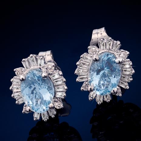 14K White Gold Aquamarine & Diamond Earrings