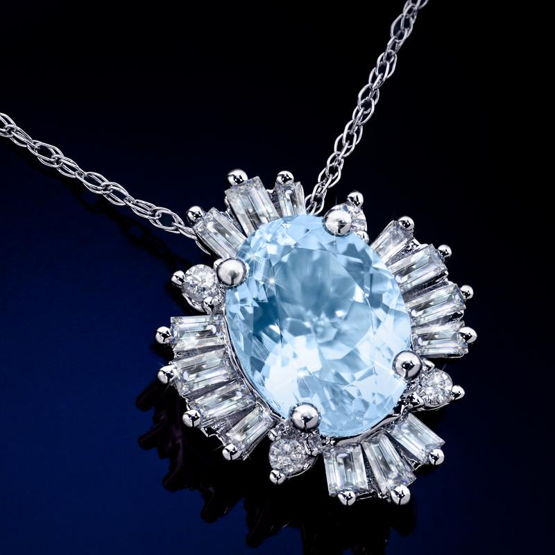 14K White Gold Aquamarine & Diamond Necklace