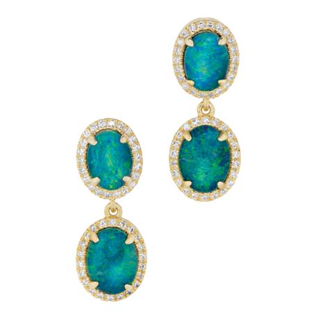Rainbow's End Opal Triplet Earrings